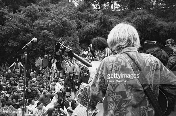 A band plays in front of the audience at the Human Be In Festival Golden Gate Park San Francisco CA on January 14 1967