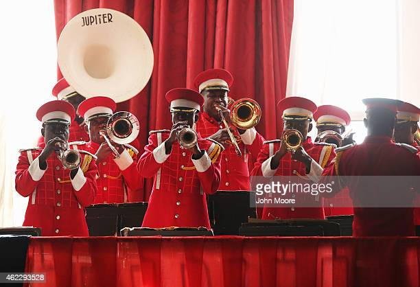 A band plays the Liberian national anthem before Liberian President Ellen Johnson Sirleaf delivered her State of the Nation address to a joint...