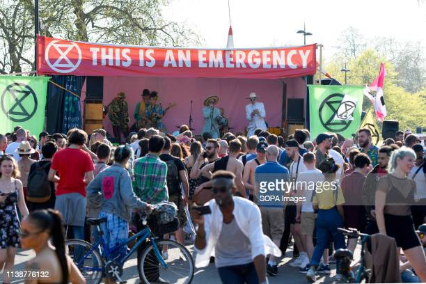 A band seen playing music during the Extinction Rebellion camp at the Marble arch Climate change activists from the Extinction Rebellion camped at...