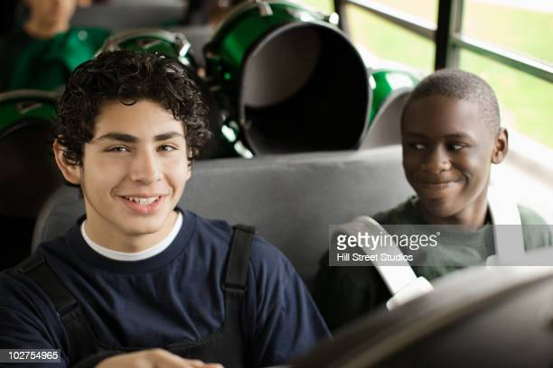 Band students riding school bus