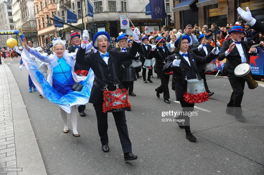 A band takes part in a parade during London's New Year's Day parade