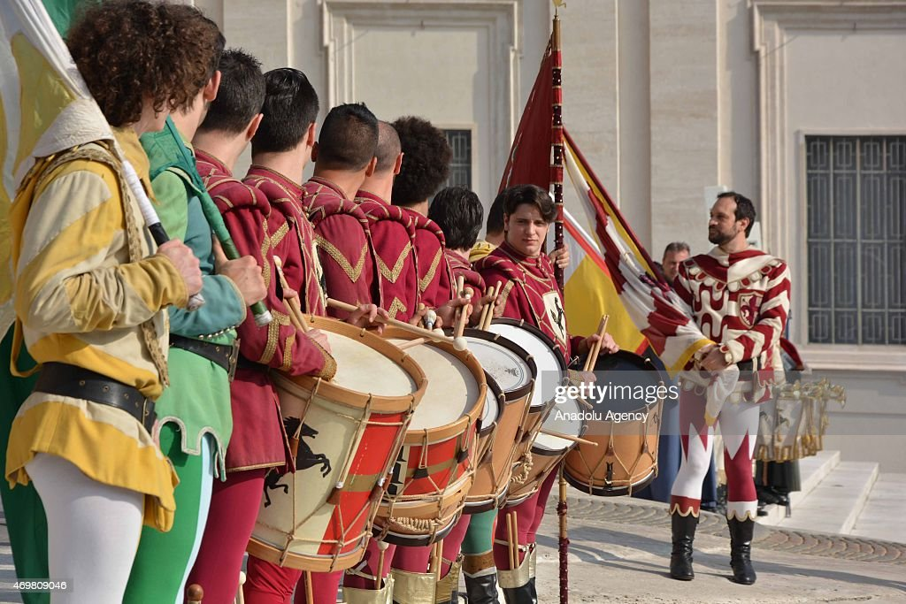 Band team from Arezzo city of Italy performs before Pope Francis arrives at St. Peter's square on April 15, 2014 to lead his weekly general audience in Vatican City, Vatican on April 15, 2015.