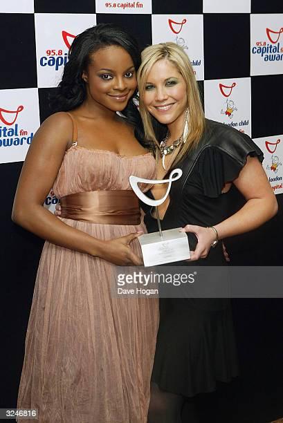 """Band The Sugababes pose with their award for Studio 7 Live award in the awards room at the """"Capital FM Awards 2004"""" at the Royal Lancaster Hotel on..."""