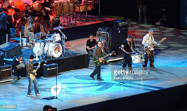 Band U2 onstage during the Special Olympics opening Ceremony in Croke Park on June 21 2003 in Dublin Ireland