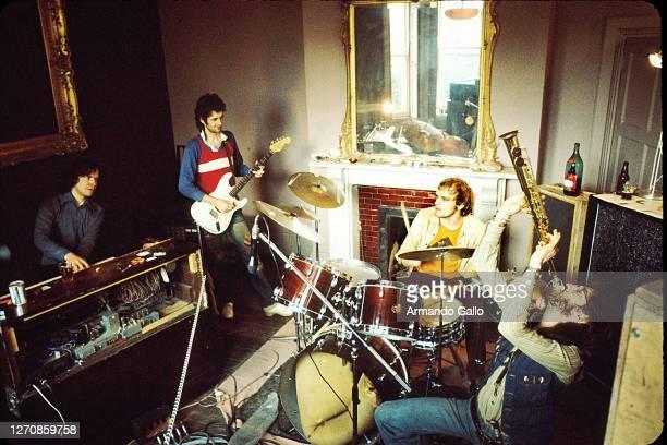 Band Van Der Graaf Generator April 1975 Rehearsing somewhere in Wales Hugh Banton Peter Hammill drummer and Dave Jackson