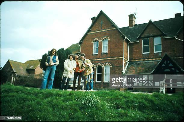 Band Van Der Graaf Generator April 1975 Rehearsing somewhere in Wales Hugh Banton Peter Hammill drummer and Dave Jackson Armando Gallo