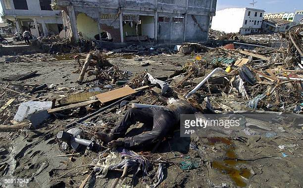 Banda Aceh, INDONESIA: This undated photo taken in the days following the devastating earthquake and tsunami, 26 December 2004, shows a body...