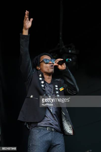 Banda Cidade Negra performs on the Sunset Stage with vocals singer Toni Garrido On a hot sunny day in early spring thousands of people arrive for the...