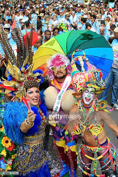 banda de ipanema parading in rio - nudie suit stock photos and pictures
