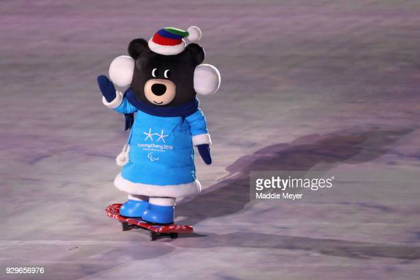 Bandabi the mascot of Paralympics is seen during a performance during the opening ceremony of the PyeongChang 2018 Paralympic Games at the...