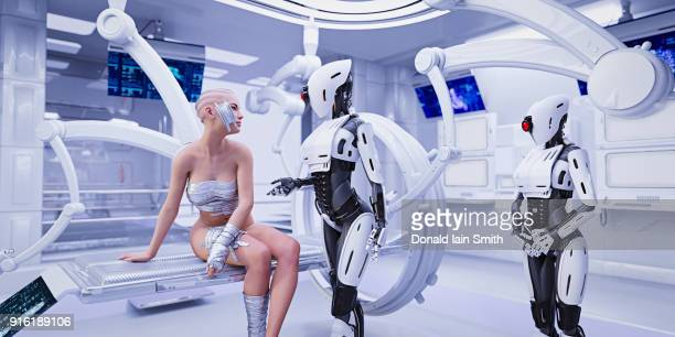 Bandage on cheek of android in futuristic hospital