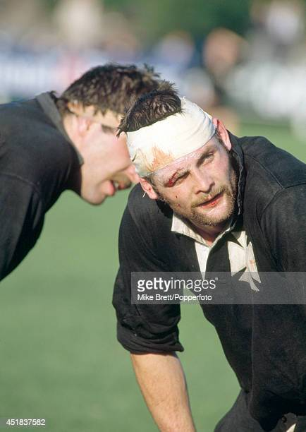 Bandaged and bloodied with stitches in a wound above his eye Brian Williams of Neath Rugby Union in action during a match against Sale on 12th...