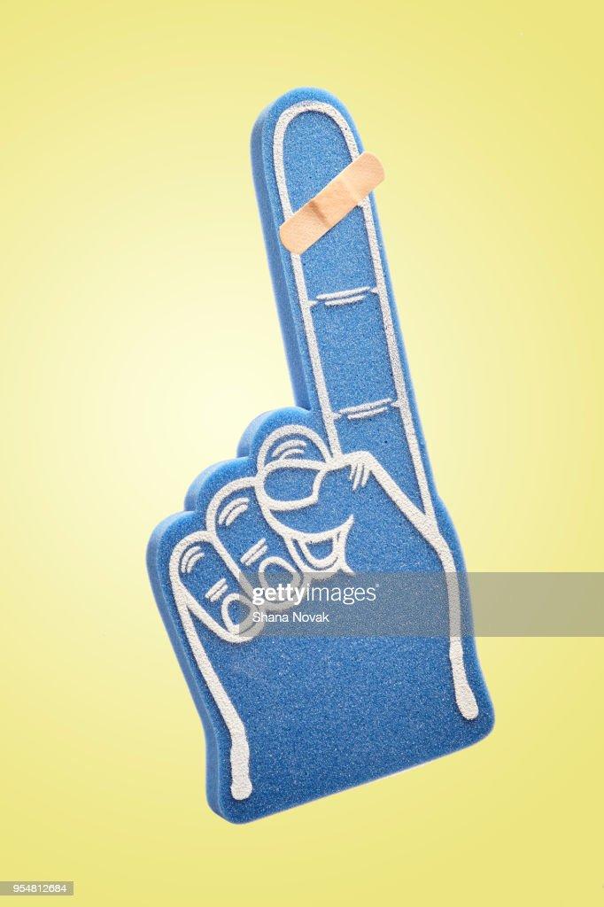 Bandaged Foam Finger : Stock Photo