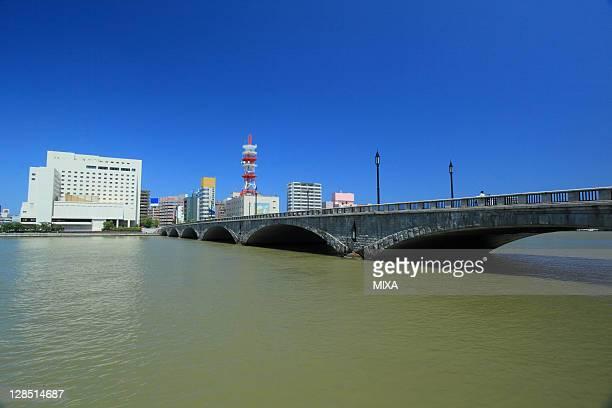 Bandai Bridge and Shinano River, Niigata, Niigata, Japan