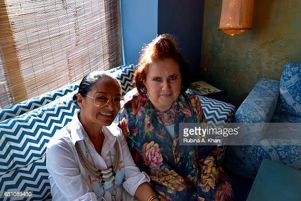 Bandana Tewari EditoratLarge Vogue India and Suzy Menkes International Vogue Editor at a hightea at Good Earth Lower Parel on January 6 2017 in...