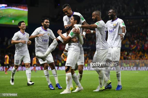 Bandar AlAhbabi of Al Ain celebrates with teammates after scoring his team's third goal during the FIFA Club World Cup UAE 2018 Second round match...