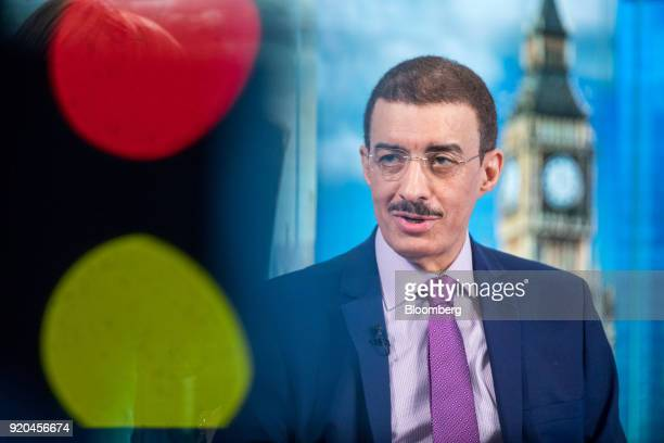 Bandar Bin Mohammed AlHajjar chairman of the Islamic Development Bank speaks during a Bloomberg Television interview in London UK on Monday Feb 19...