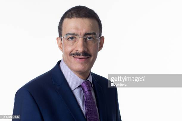 Bandar Bin Mohammed AlHajjar chairman of the Islamic Development Bank poses for a photograph following a Bloomberg Television interview in London UK...