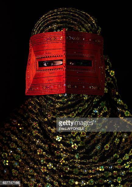 Bandari woman wearing a traditional mask called the burqa on December 31 2015 in Minab Hormozgan Province Iran