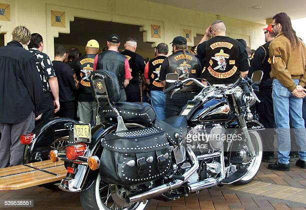 Bandidos at Rod Partington funeral at Ryhope Crematorium, 2 April 2001. THE AGE Picture by RON BELL