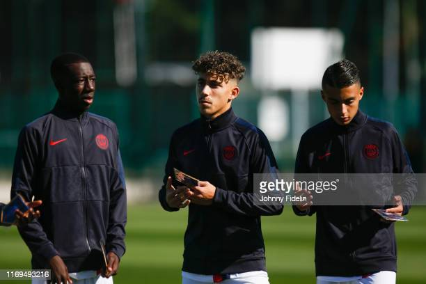 Bandiougou FADIGA Adil AOUCHICHE Kays RUIZ ATIL of PSG during the Youth League match between Paris Saint Germain and Real Madrid at Camp des Loges on...