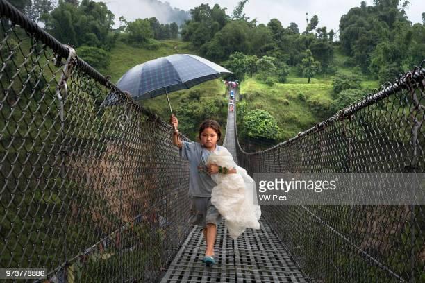 Bandipur Hanging bridge in Nepal Kathmandu Valley