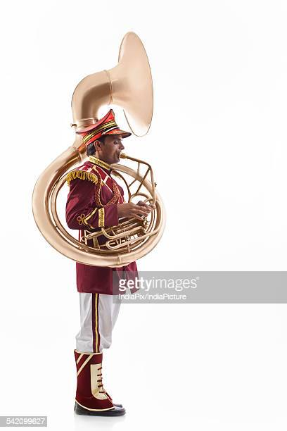 bandmaster playing a sousaphone - adults only stock pictures, royalty-free photos & images