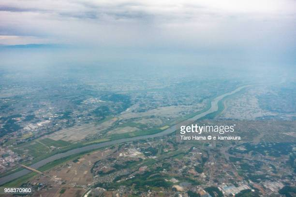 Bando city in Ibaraki prefecture and Noda city in Chiba prefecture in Japan daytime aerial view from airplane