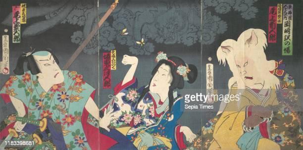 Bando Mitsugoro IV as Aisho Michinoku Onoe Kikugoro V as Isogai Mibunosuke in the Kabuki play Tokai Kidan Nekomata Yashiki Meiji period Japan...