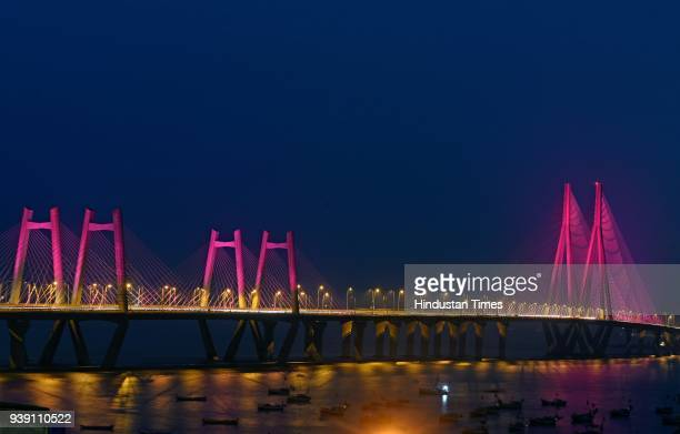 Bandra Worli Sea link lit up as purple color for the support of Epilepsy, on March 26, 2018 in Mumbai, India. Epilepsy is a group of neurological...