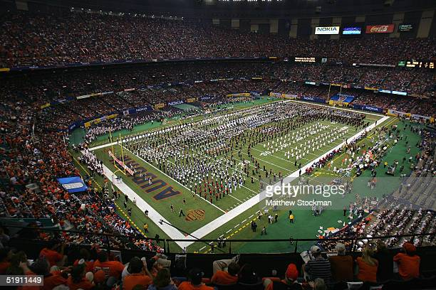 Bands perform during halftime of a game between the Auburn Tigers and the Virginia Tech Hokies during the Nokia Sugar Bowl on January 3 2005 at the...