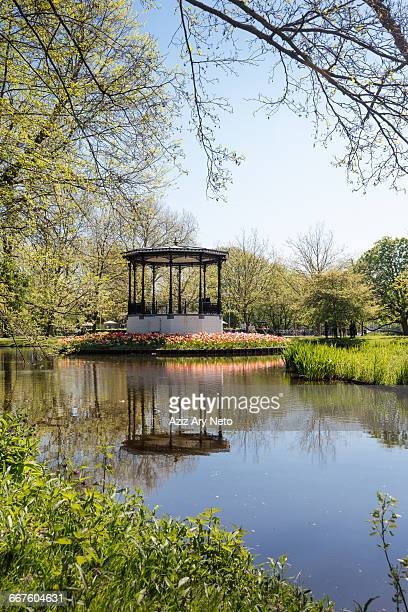 Bandstand and lake in Vondel Park in spring, Amsterdam, Netherlands