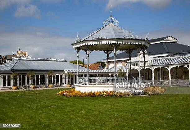 Bandstand and pavilion Gyllyngdune Gardens Falmouth Cornwall England UK
