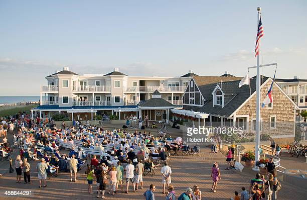 bandstand concert - bethany beach - bethany beach stock photos and pictures