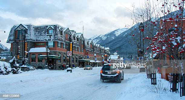 Banff Avenue in the town of Banff, Alberta- winter