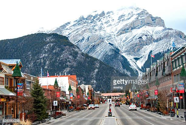 Banff Avenue retail area in  Banff, Alberta- winter