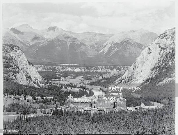 Panorama of Banff Springs Hotel and Bow River Valley