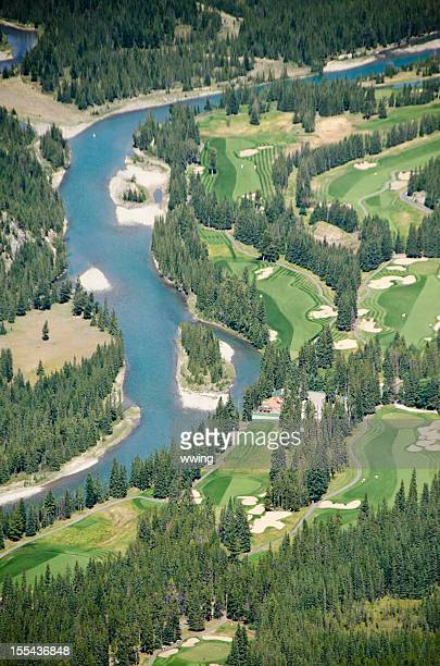 banff golf course and bow river valley - banff springs golf course stock photos and pictures
