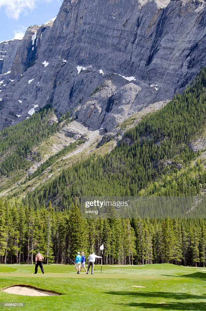Banff Golf Course and Golfers ... on the Green : Stock Photo