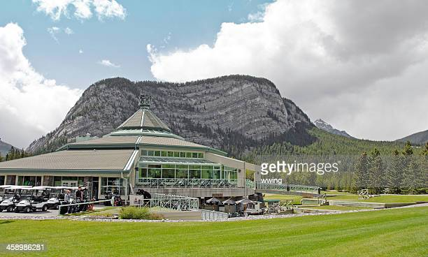 banff golf course club house - banff springs golf course stock photos and pictures