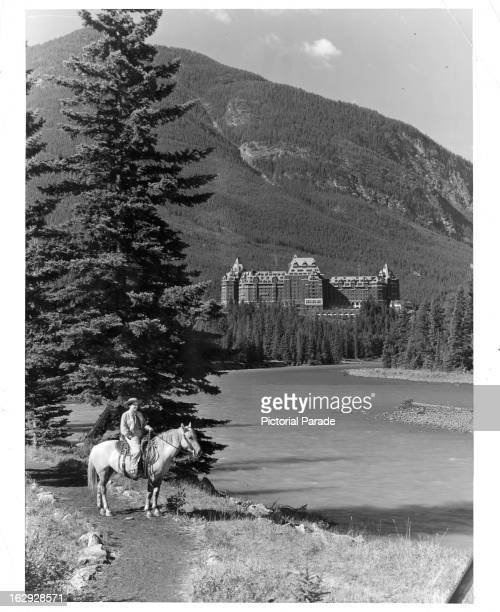 Banff Springs Hotel as seen from the Bow River in Banff Alberta Canada 1955