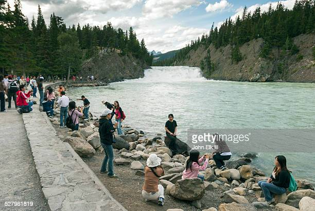 Banff town, Bow River with visitors