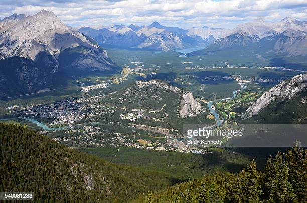 banff town landscape - banff springs golf course stock photos and pictures
