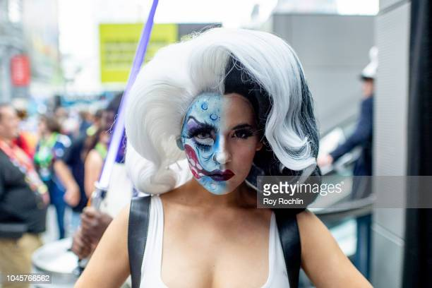 Bang Bang Luna cosplays as Harvey Two Face from Batman and the DC Universe during the 2018 New York Comic Con at Javits Center on October 4 2018 in...