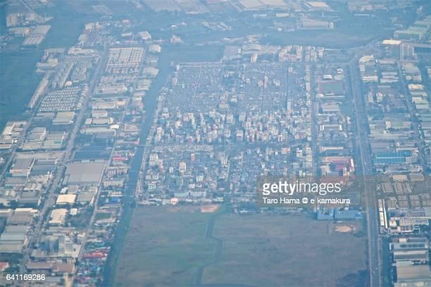 Bang Sao Thong aerial view from airplane
