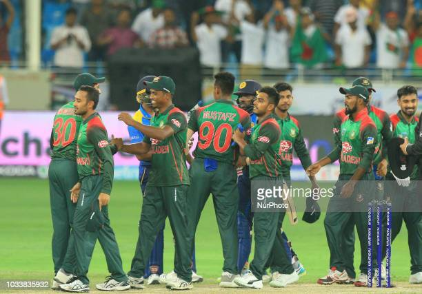 Bangaldesh cricketers celebrate the win against Sri Lankan cricket team during the first cricket match of Asia Cup 2018 between Sri Lanka and...