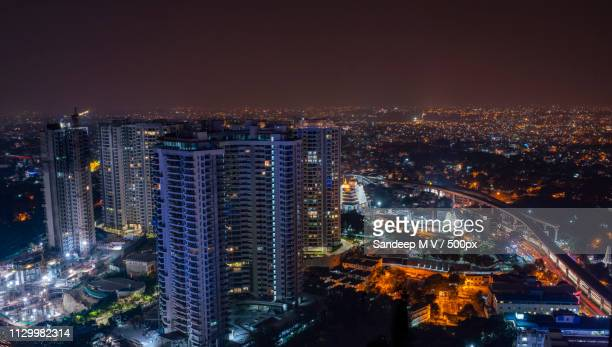 bangalore city nightscape - karnataka stock pictures, royalty-free photos & images
