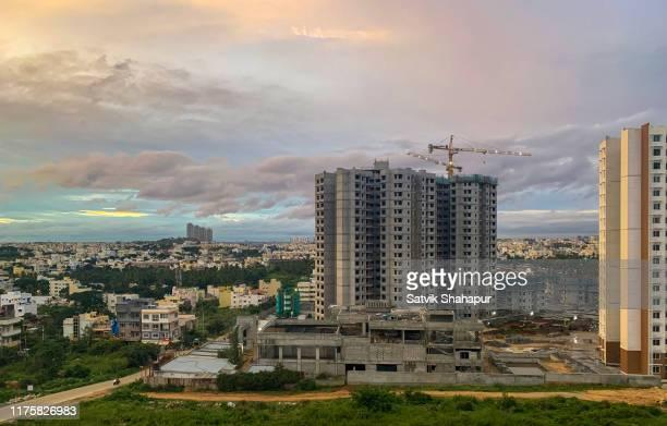 bangalore city skyline - apartment construction - bangalore stock pictures, royalty-free photos & images