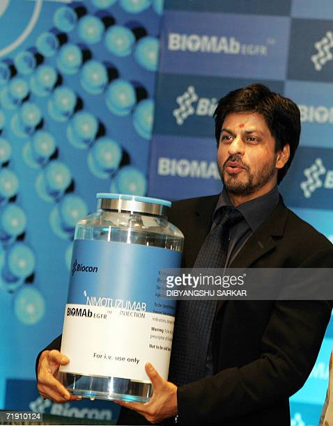 Bollywood film actor Shah Rukh Khan unveils a giant size replica of the bottle of the Cancer Drug BIOMAbEGFR developed by the biotechnology company...