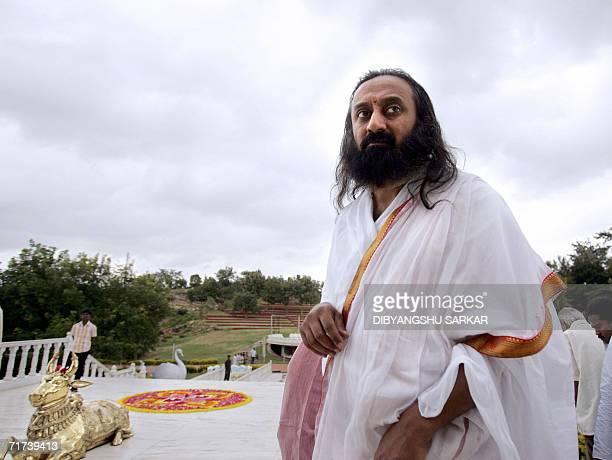 Founder of the non profit spiritual organisation Art of Living International Center Sri Sri Ravi Shankar arrives to attend a camp in the main prayer...